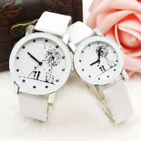 Couple Watch Bracelets, PU, with zinc alloy dial & Glass, Chinese movement, platinum color plated, different styles for choice, white, Sold By PC