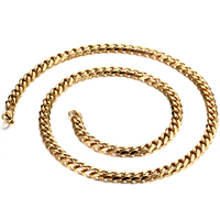 Stainless Steel Chain Necklace, gold color plated, different length for choice & Unisex & curb chain, 7mm, Sold By Strand