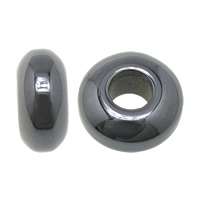 Non Magnetic Hematite European Bead, Rondelle, without troll, 7x14mm, Hole:Approx 5.5mm, Sold By PC