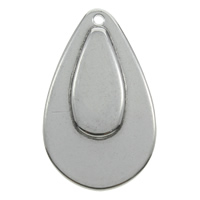 Stainless Steel Pendants, Teardrop, original color, 17x28x1.5mm, Hole:Approx 1mm, Sold By PC