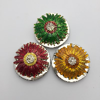 Enamel Bag Hanger, Zinc Alloy, Flower, plated, with rhinestone, more colors for choice, 75x60mm, Sold By PC