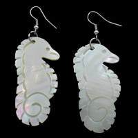 White Shell Earrings, iron earring hook, Seahorse, natural, 24x49x3mm, Sold By Pair