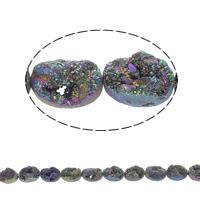 Druzy Beads, Ice Quartz Agate, natural, druzy style, 18x13x8mm, Hole:Approx 1mm, Length:Approx 7.5 Inch, Approx 11PCs/Strand, Sold By Strand