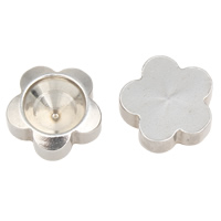 Stainless Steel Cabochon Setting, Flower, flat back, original color, 12x4mm, Inner Diameter:Approx 8mm, Sold By PC
