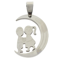 Stainless Steel Pendants, original color, 19x28x1mm, Hole:Approx 4x7mm, Sold By PC