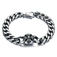 Stainless Steel Chain Bracelets, fleur-de-lis cross, curb chain & for man & blacken, 36x14mm, Length:Approx 8.26 Inch, Sold By Strand