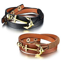 Cowhide Bracelets, Zinc Alloy, with Waxed Cotton Cord & Cowhide, Anchor, gold color plated, nautical pattern & adjustable & 2-strand, more colors for choice, 8mm, Length:Approx 8-9 Inch, Sold By PC