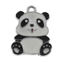 Zinc Alloy Animal Pendants, Panda, platinum color plated, enamel, white and black, lead & cadmium free, 21x26x2mm, Hole:Approx 2mm, Sold By PC