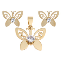 Stainless Steel Jewelry Sets, pendant & earring, Butterfly, gold color plated, with cubic zirconia, 25x21x6mm, 19x15x4mm, Hole:Approx 3x8mm, Sold By Set