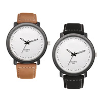 Unisex Wrist Watch, PU, with zinc alloy dial, Chinese movement, plated, more colors for choice, 44mm, 19.5mm, Length:Approx 9.8 Inch, Sold By PC