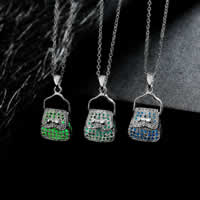 comeon® Jewelry Necklace, Zinc Alloy, with Fluorescent Powder Stone, Handbag, real silver plated, oval chain & luminated & hollow, more colors for choice, 15x31mm, Length:Approx 19.6 Inch, Sold By Strand