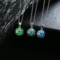 comeon® Jewelry Necklace, Zinc Alloy, with Fluorescent Powder Stone, Round, real silver plated, oval chain & luminated & hollow, more colors for choice, 13x23mm, Length:Approx 19.6 Inch, Sold By Strand