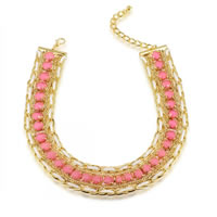 Chain Woven Necklace, Zinc Alloy, with Velveteen Cord, with 3 lnch extender chain, 18K gold plated, faceted, 28mm, Length:Approx 13.7 Inch, Sold By Strand