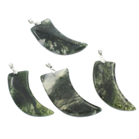 Moss Agate Pendants, with iron bail, Horn, platinum color plated, 29x52x8mm-27x40x8mm, Hole:Approx 4x5mm, Sold By PC