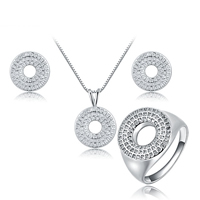 Newegg® Jewelry Set, Brass, finger ring & earring & necklace, with 1.6 lnch extender chain, Donut, platinum plated, box chain & micro pave cubic zirconia, 16mm, 13mm, 15x21mm, US Ring Size:8, Length:Approx 16 Inch, Sold By Set