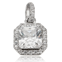 Cubic Zirconia Micro Pave Sterling Silver Pendant, 925 Sterling Silver, Octagon, plated, micro pave cubic zirconia, more colors for choice, 10x13x5.5mm, Hole:Approx 3x4mm, Sold By PC