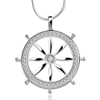 comeon® Jewelry Necklace, Brass, Ship Wheel, real silver plated, nautical pattern & snake chain & micro pave cubic zirconia, 36x40mm, Length:Approx 18 Inch, Sold By Strand