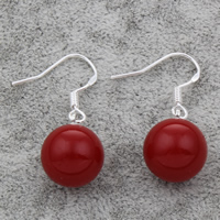 Coral Drop Earring, sterling silver earring hook, Round, 12mm, Sold By Pair