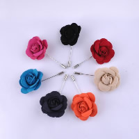 Velveteen Brooch, with Iron, Flower, platinum color plated, more colors for choice, 50mm, 75mm, Sold By PC