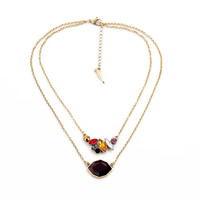Fashion Multi Layer Necklace, Zinc Alloy, with Crystal, with 2 lnch extender chain, antique gold color plated, rolo chain & faceted & 2-strand, 35x16mm, Length:Approx 17.3 Inch, Sold By Strand