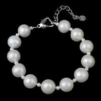 Cultured Freshwater Pearl Bracelets, brass lobster clasp, with 4cm extender chain, Potato, natural, white, 10-11mm, Length:Approx 6 Inch, Sold By Strand