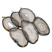Natural Agate Druzy Pendant, Ice Quartz Agate, with Rhinestone Clay Pave & Abalone Shell & Brass, plated, druzy style & mixed, 48-54x60-79x5-6mm, Hole:Approx 5x7mm, Sold By PC