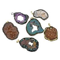 Natural Agate Druzy Pendant, Ice Quartz Agate, with Rhinestone Clay Pave & Abalone Shell & Brass, plated, druzy style & mixed, 29-45x46-58x9-11mm, Hole:Approx 5x7mm, Sold By PC
