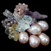 Freshwater Pearl Pendants, with Crystal & Quartz, Flower, natural, faceted, 7-8mm, 30x45x11mm, Hole:Approx 5mm, Sold By PC