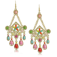 Resin Zinc Alloy Earring, with Resin, stainless steel earring hook, gold color plated, 47x85mm, 16mm, Sold By Pair