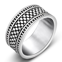 Titanium Steel Finger Ring, blacken, 9mm, US Ring Size:7-9, Sold By PC