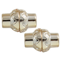 Acrylic Magnetic Clasp, Drum, gold color plated, 18x12mm, Hole:Approx 6mm, Sold By Set