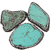 Dyed Natural Turquoise Beads, Natural White Turquoise, with Rhinestone Clay Pave, Nuggets, blue, 21-27x31-38x6-8mm, Hole:Approx 2mm, Sold By PC