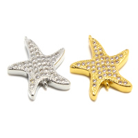 Cubic Zirconia Micro Pave Brass Connector, Starfish, plated, micro pave cubic zirconia & 1/1 loop, more colors for choice, lead & cadmium free, 16x18x3mm, Hole:Approx 1mm, Sold By PC