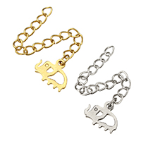 Stainless Steel Extender Chain, Elephant, plated, more colors for choice, 11x9x1mm, 3x4mm, Length:Approx 2 Inch, Sold By Strand