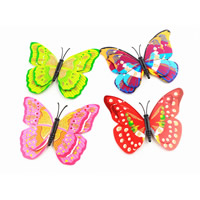 Plastic Fridge Magnet, PVC Plastic, with Magnetic Hematite, Butterfly, with magnetic & colorful powder, mixed colors, 75-100mm, Sold By PC