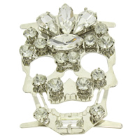 Brass Buckle, with Crystal, Skull, platinum color plated, faceted & with rhinestone, nickel, lead & cadmium free, 38x60x6mm, Sold By PC