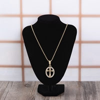 Zinc Alloy Sweater Chain Necklace, Cross, gold color plated, ball chain & with rhinestone, 28x34mm, Length:Approx 27.5 Inch, Sold By Strand