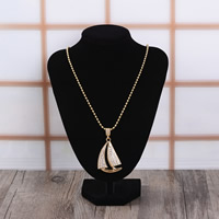 Zinc Alloy Sweater Chain Necklace, Ship, gold color plated, ball chain & with rhinestone, 33x48mm, Length:Approx 27.5 Inch, Sold By Strand