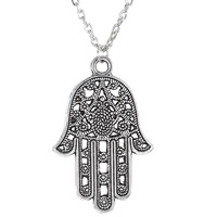 Zinc Alloy Sweater Chain Necklace, with iron chain, Hamsa, antique silver color plated, oval chain, lead & cadmium free, 42x27mm, Length:Approx 29 Inch, Sold By Strand