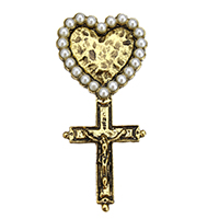 Zinc Alloy Jewelry Cabochons, with Glass Pearl, Crucifix Cross, antique gold color plated, flat back, 26.5x58x4mm, Sold By PC