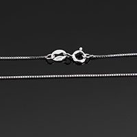 Sterling Silver Necklace Chain, 925 Sterling Silver, different length for choice & box chain, 0.6x0.6mm, Sold By Strand