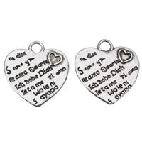 Zinc Alloy Heart Pendants, antique silver color plated, lead & cadmium free, 20x21x1.5mm, Hole:Approx 3mm, Approx 55PCs/Bag, Sold By Bag