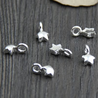 925 Sterling Silver Extender Chain Drop, Star, 5.3x9.3mm, Hole:Approx 2-3mm, Sold By PC