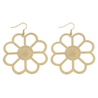 Stainless Steel Drop Earring, Flower, gold color plated, stardust, 54x72x0.5mm, Sold By Pair