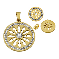 Stainless Steel Jewelry Sets, pendant & earring, with Rhinestone Clay Pave & Glass, Flat Round, plated, more colors for choice, 31.5x36x5mm, 15x14.5mm, Hole:Approx 5x9mm, Sold By Set