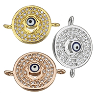 Cubic Zirconia Micro Pave Brass Connector, Flat Round, plated, with eye pattern & micro pave cubic zirconia & epoxy sticker & 1/1 loop, more colors for choice, 18x13x3mm, Hole:Approx 1mm, Sold By PC