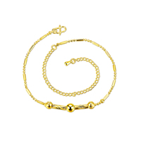comeon® Jewelry Anklet, Brass, with 3.9 lnch extender chain, real gold plated, flower cut, 35x7mm, Length:Approx 7.8 Inch, Sold By Strand