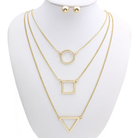 Fashion Zinc Alloy Jewelry Sets, earring & necklace, with iron chain, with 5cm extender chain, gold color plated, oval chain & 3-strand, lead & cadmium free, 34x28x2mm, 10x10mm, Length:Approx 17 Inch, Sold By Set