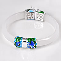 White Agate Bangle, with Sterling Silver Cloisonne, natural & enamel, 10mm, Inner Diameter:Approx 59mm, Length:Approx 7 Inch, Sold By PC
