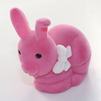 Velveteen Ring Box, with Glue Film, Rabbit, with ribbon bowknot decoration, bright rosy red, 59x59x38mm, Sold By PC